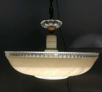 Vintage Chandelier Beige Frosted Glass Shade Solid Brass Ceiling Light Fixture