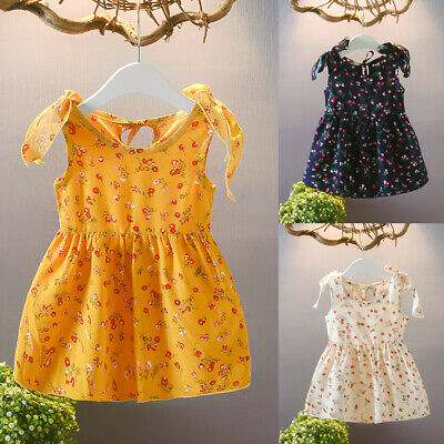 Toddler Baby Kids Girls Summer Sleeveless Ribbons Bow Flower Princess Dresses