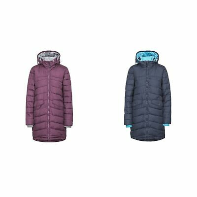 954a83d71 TRESPASS HOMELY Womens Padded Jacket Long Coat in Black Purple ...