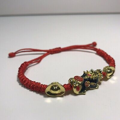 Lucky Red Rope String Adjustable Fortune Gold Chinese Pi Yao Bracelet Feng Shui