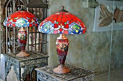 Vintage Large Tiffany Style Art Stained Glass Lamp - Flowers 3 Lights