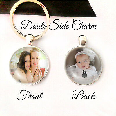 Personalised Double Sided Photo Keyring Mothers Day Birthday Presents Gifts