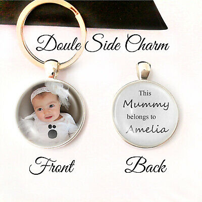 Personalised  Photo Keyring Dad Mum Belongs to Birthday Present Gift Mothers Day