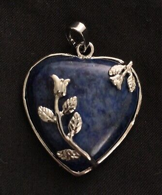 Lapis Lazuli Crystal Blue Love Heart Pendant Fit Necklace Silver Plated Flower
