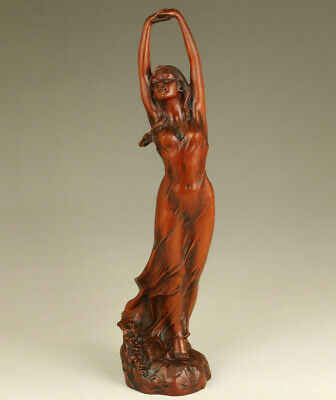 Asian old boxwood hand carved sandbeach dance girl statue netsuke collectable