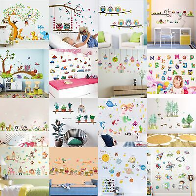 Cartoon Animals Kids Children Wall Stickers Bedroom Art Decal For Play Study DHC
