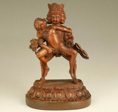 old boxwood hand carving belle Buddha statue figue table home decorate