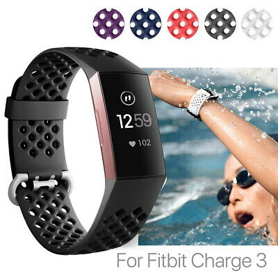 For Fitbit Charge 3 Band Sport Watch Replacement Wrist Silicone Strap Breathable