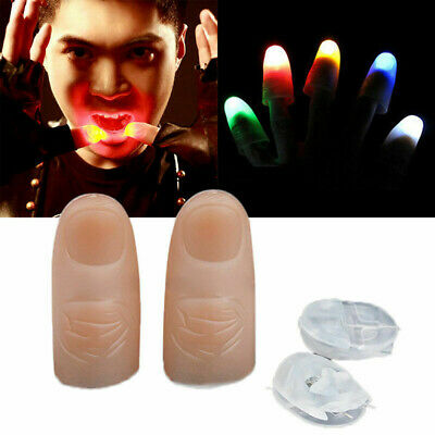 2Pcs Party Magic Light Up Glow Thumbs Fingers Trick Appearing Light Close Up NEW