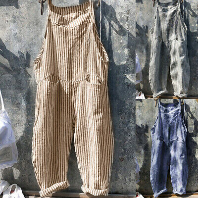 UK Women Summer Oversized Straps Jumpsuits Dungaree Striped Loose Harem Trousers