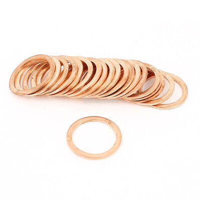 H● 20Pcs 22mm Inner Dia 28 mm OD Copper Flat Washer Seal Ring washer copper