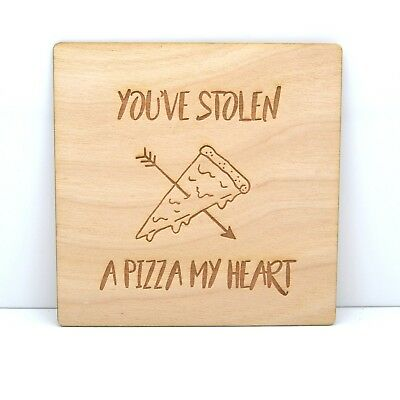 Pizza My Heart - Wood Card - Funny Unique Gift/Valentines/Anniversary/Love