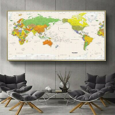 Globe Time Zone Political HD World Map Canvas Poster Education Art Unframed 122