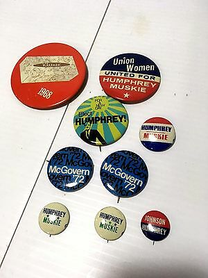 Vintage Mixed Lot Democratic Presidential Campaign Buttons Pin Backs 1970'S