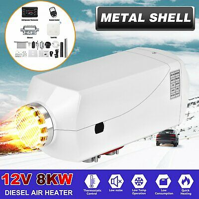 12V 8KW Diesel Air Heater Metal Shell +LCD Thermostat For Truck Trailer Car Boat