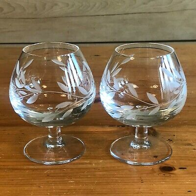 Pair of Quality Etched Cut Glass Brandy Glasses Balloons, Heavy, Excellent Cond.