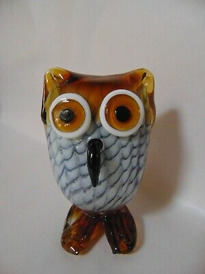 Owl - Art Glass Owl Figurine - Hand Blown  - Unique