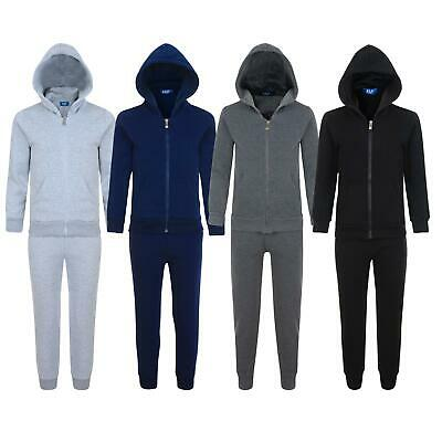 Kids 2-Piece Fleece Tracksuit Plain Hooded Top Jogging Bottoms Sizes 3-14 Years