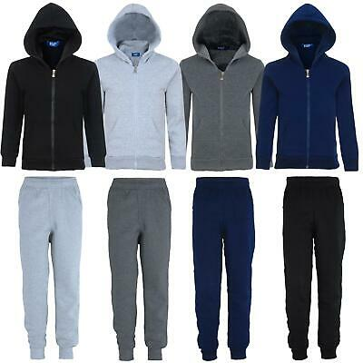 Kids Plain Fleece Tracksuit Jogging Trousers or Hooded Jumper Sizes 3-14 Years