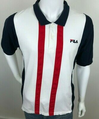 Mens Large Vintage Fila Polo Shirt Navy Red & White L