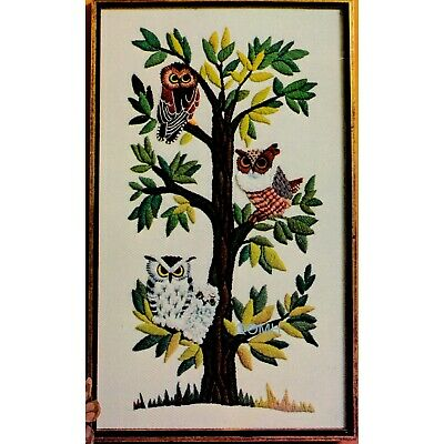 OWLS IN A TREE Vintage Crewel Embroidery Kit Erica Wilson Mid Century Panel