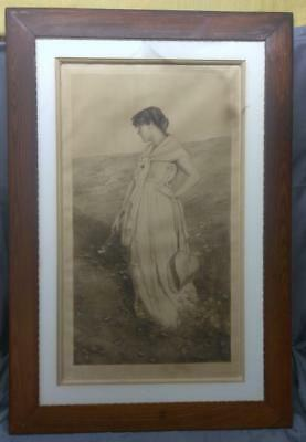 Antique Old Etching Engraving Print Woman Art Victorian Era Signed Framed Art