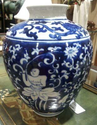 Old Antique Asian Chinese Pottery Vase Urn Blue & White Buddha Oriental Art  C