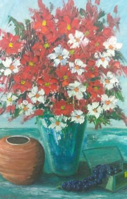 vintage Oil Painting Expressionist Floral Flowers Still Life Mid Century Modern