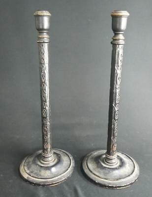 Antique Pair Set of Two 2 Wood Candlesticks Old Arts & Crafts Era Asian Wooden