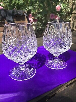 Stuart Crystal Shaftesbury Pattern x2 Brandy Glasses, Unused Excellent Condition