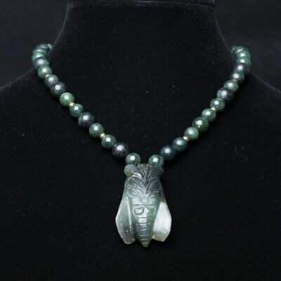 """Antique Chinese Spinach Green Jade Beaded Necklace with 2"""" Carved Cicada Pendant"""