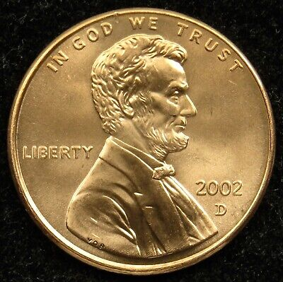 2002 D Uncirculated Lincoln Memorial Cent Penny BU (B01)