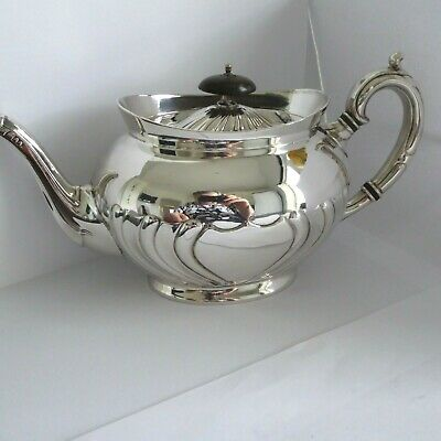 Antique C 1890  Repousse  Silver Plate  Teapot  6 Cups Appx - Gleaming