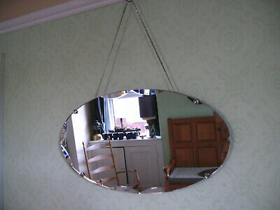Vintage Frameless Beveled Scalloped Edge Wall Mirror Claw Clasps Original Chains