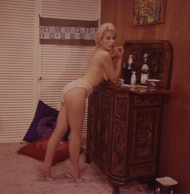 1960s Color Camera Transparency Stella Stevens Sultry Topless Barmaid Bombshell