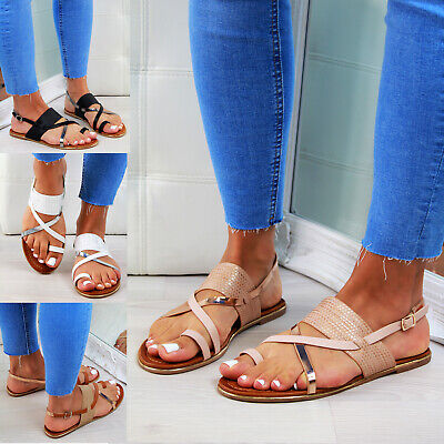 New Womens Flat Sandals Strappy Comfy Ankle Strap Holiday Ladies Shoes Sizes 3-8