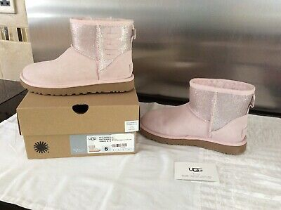 Ugg Classic Pair Of Pink Sparkle Genuine Boots Size Uk 4