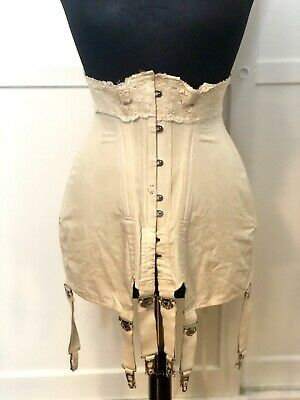 Antique vintage Late Victorian Edwardian Longline Corset 1890s Patent Hynds NY