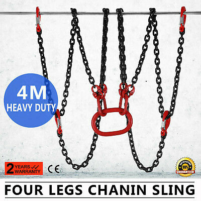 4 Legs 13Ft Chain Sling 5T Hook Sling Lifting Chain Ports Safety Hook GREAT