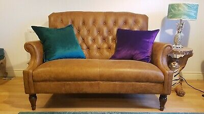 1 Laura Ashley Lancaster 2 Seater Sofa in Colorado Leather - Excellent condition
