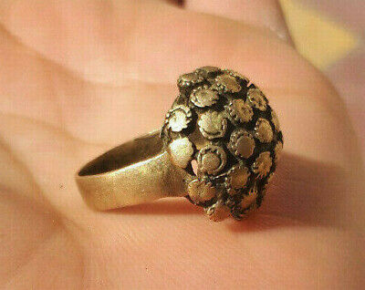 Rare Ancient medieval authentic Bronze flower Ring Musueum Quality Artifact