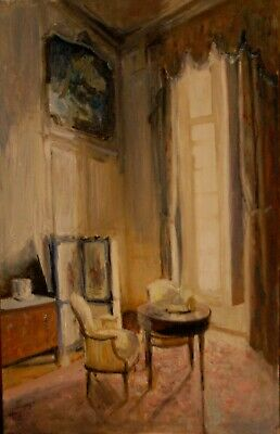 Original Oil Painting    Interior  ...Corner Of A French Chateau Salon