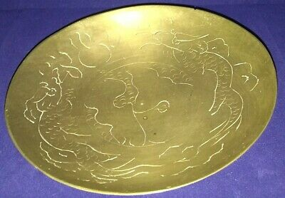 Antique Brass Etched Dragon Dish Made In China