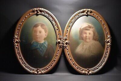 Vtg Antique Pair Victorian Oval Wood Ornate Frame Convex Bubble Glass W/Portrait