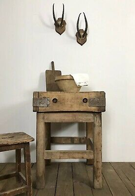 Stunning Antique Country Farmhouse Kitchen Island Butchers Block