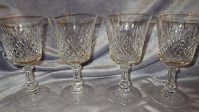 Bright Cut Crystal Cordial Liqueur Glasses 4 4 oz footed stems