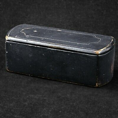 Antique 18/19th century black lacquer hinged European snuff box