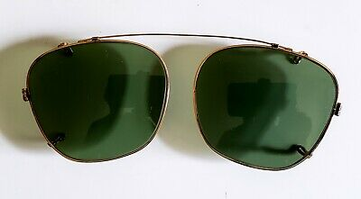 Vintage American Optical Gold Metal Square Aviator Clip-on Sunglass Frames NOS