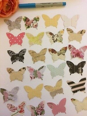 """Lot Of 40 Vintage Style Butterfly Cutouts, Paper Punches, Many Uses, 2"""" In Size"""