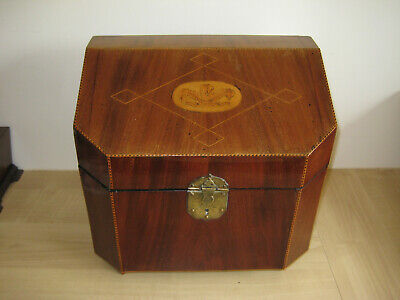 Large Vintage Satinwood And Inlay Stationary Box